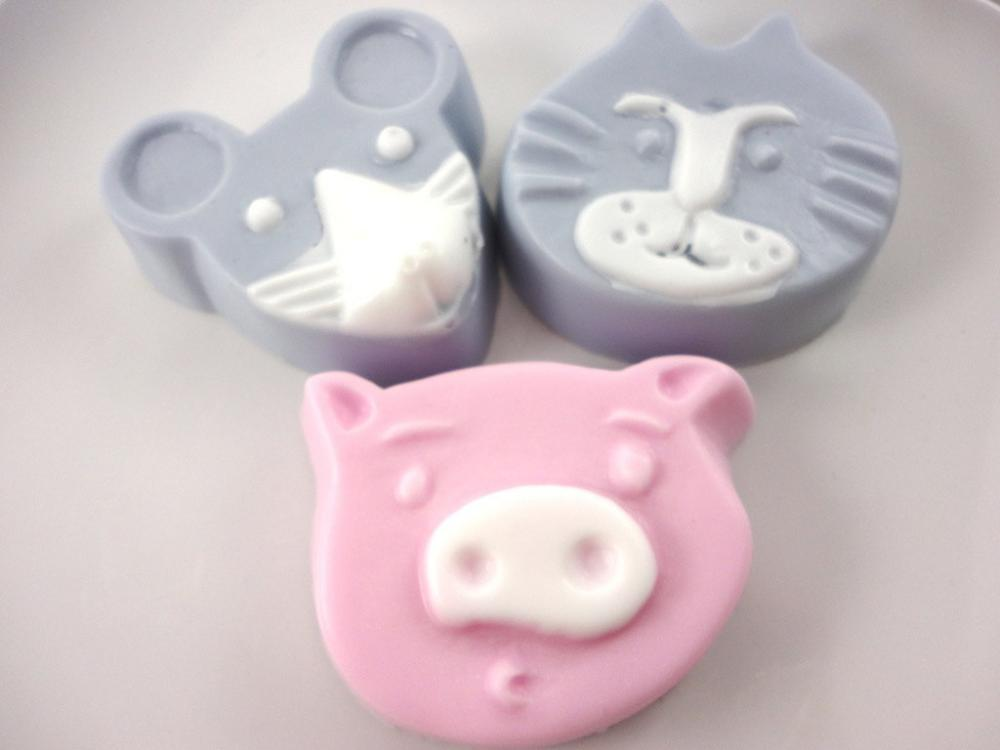 Fun Animal Soaps - Set of Three - Pig, Mouse, Cat